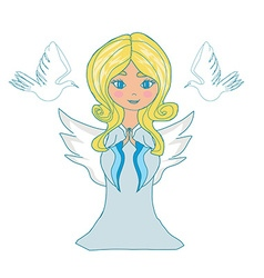 Sweet little girl angel and two doves vector