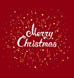 text merry christmas with fireworks vector image