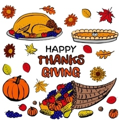 Thanksgiving day dinner set vector