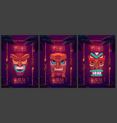 tiki bar cartoon ad posters with tribal masks vector image