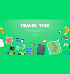 Travel time horizontal advertising banner on vector