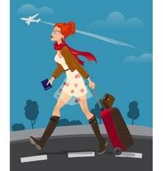 traveling woman holding passport vector image
