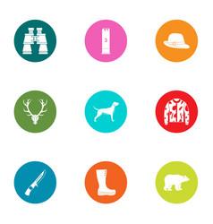 trekking icons set flat style vector image