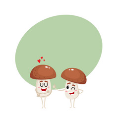 two mushroom characters one showing love another vector image