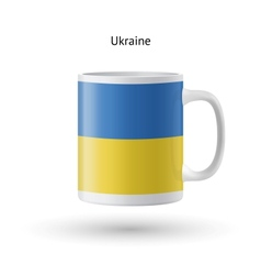 Ukraine flag souvenir mug on white background vector