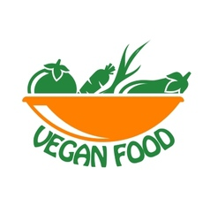Vegan food icon with vegetables vector image