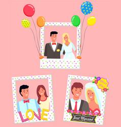 Wedding celebration photozone for couples in love vector