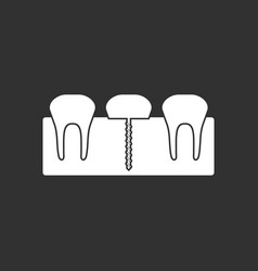 White icon on black background teeth and gum vector