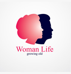 Woman getting old age years conceptual from vector