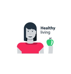 Womans health healthy diet young girl holding an vector