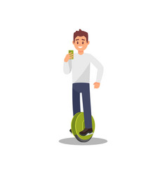 young man riding electric monowheel hoverboard vector image