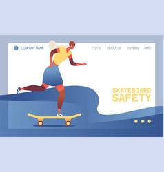 young woman or teenage girl riding skateboard vector image