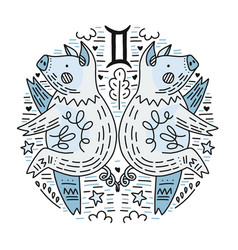 zodiac signes gemini vector image