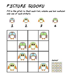 Childrens sudoku puzzle with cute owls for vector image vector image