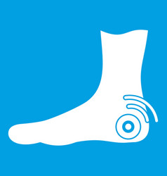 foot heel icon white vector image vector image