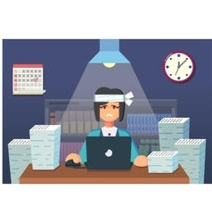 Funny flat Cartoon Character Tired Office Worker vector image vector image