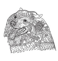 Line art of cute spritz dog with pattern for vector image vector image