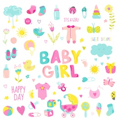 Baby Girl Design Elements - for design and scrap vector image