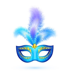 Blue isolated carnival mask with feathers vector image vector image