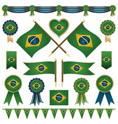 Brazil flag ornaments vector