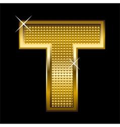 Golden font type letter t vector