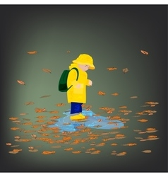 Kid in raincoats and rubber boots in the rain vector image vector image