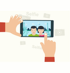 selfie photo on smart phone oncept on white vector image