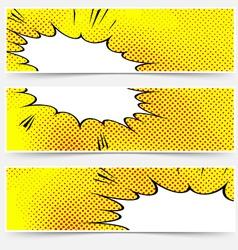 Yellow header book comic explosion banner vector image vector image