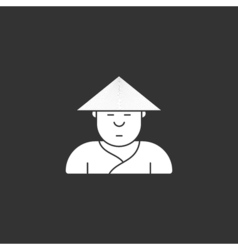 contour icon cute Japanese three-cornered hat vector image vector image