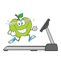 healthy green apple cartoon character running vector image vector image