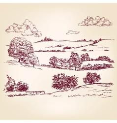 Landscape sketch drawing vector
