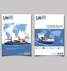 sea shipping banner template set vector image