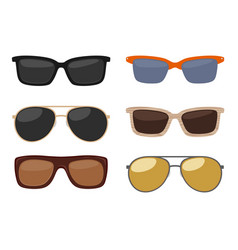 types of sunglasses color flat vector image vector image
