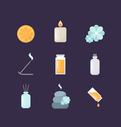 aromatherapy icons set vector image