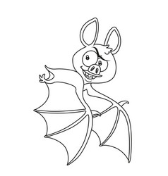 cute halloween bat flying outlined for coloring vector image