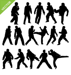 Taekwondo silhouettes vector image vector image