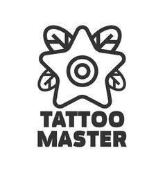 tattoo master studio salon star flower icon vector image vector image