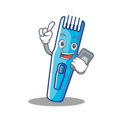 with phone trimmer character cartoon style vector image vector image