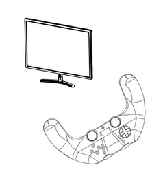 3d model of joystick and monitor on a white vector image