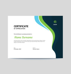 Abstract blue and green waves certificate design vector