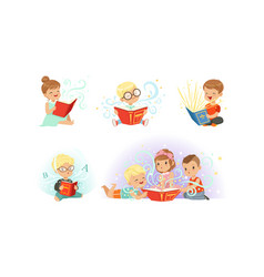 Adorable little boys and girls reading fairy tale vector