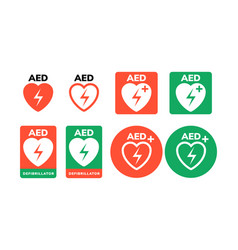 Aed symbol icon heart first aid defibrillator vector