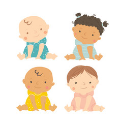 baby multi-ethnic set of babies vector image