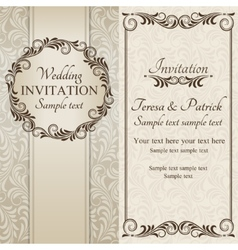 Baroque wedding invitation brown and beige vector