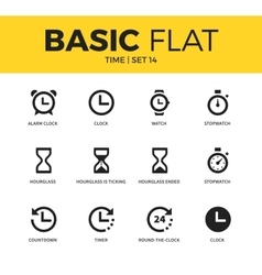 Basic set time icons vector
