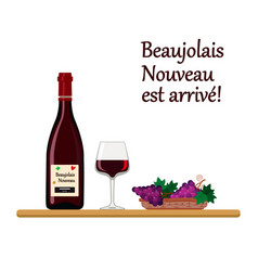 beaujolais nouveau wine with glass and grapes vector image