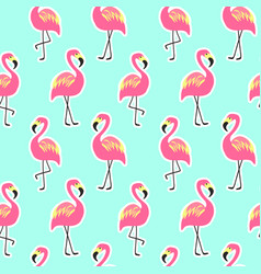 Beautiful seamless pattern with pink flamingo vector