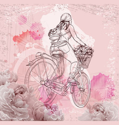 bicyclist girl on abstract background vector image