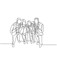 business friendship concept one continuous line vector image