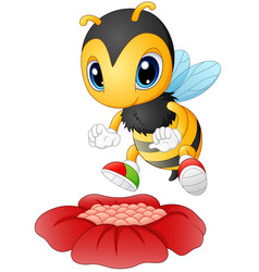 Cartoon bee happy to see the flower vector